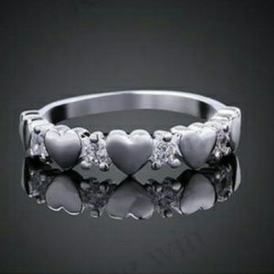 Silver Hearts and Sapphires Ring